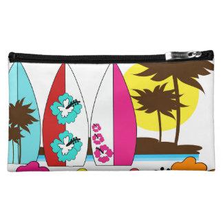 Surf Shop Surfing Ocean Beach Surfboards Palm Tree Cosmetics Bags