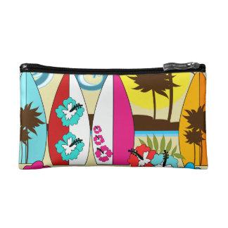 Surf Shop Surfing Ocean Beach Surfboards Palm Tree Makeup Bag