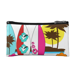 Surf Shop Surfing Ocean Beach Surfboards Palm Tree Cosmetic Bags