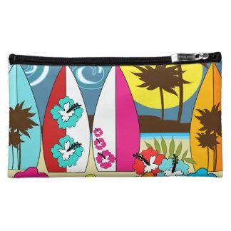 Surf Shop Surfing Ocean Beach Surfboards Palm Tree Makeup Bags