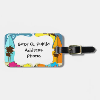 Surf Shop Surfing Ocean Beach Surfboards Palm Tree Bag Tag