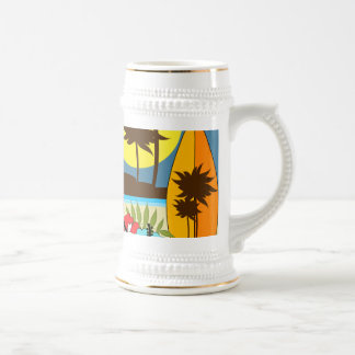 Surf Shop Surfing Ocean Beach Surfboards Palm Tree Beer Stein