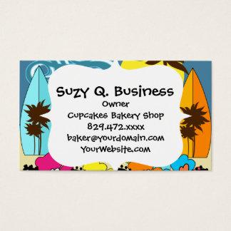 Surf Shop Surfing Ocean Beach Surfboards Palm Tree Business Card