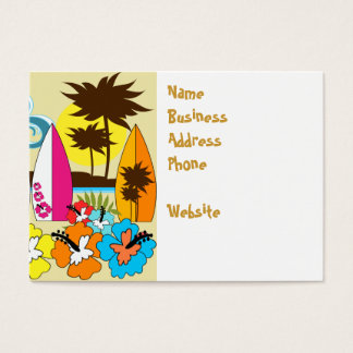 Surf Shop Surfing Ocean Beach Surfboards Palm Tree Business Card