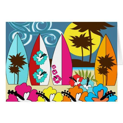 Surf Shop Surfing Ocean Beach Surfboards Palm Tree Card