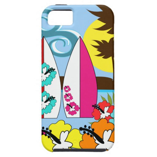 Surf Shop Surfing Ocean Beach Surfboards Palm Tree iPhone 5 Case