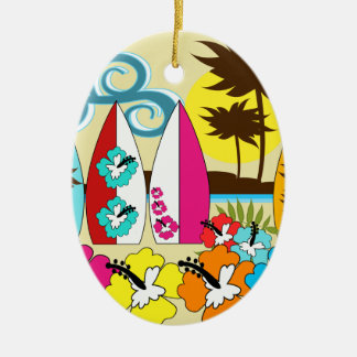 Surf Shop Surfing Ocean Beach Surfboards Palm Tree Ceramic Ornament