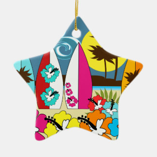 Surf Shop Surfing Ocean Beach Surfboards Palm Tree Ceramic Ornament