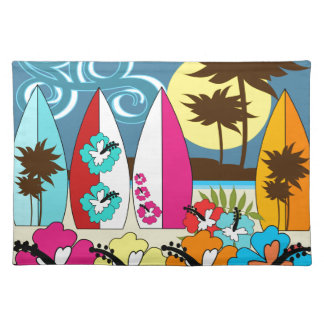 Surf Shop Surfing Ocean Beach Surfboards Palm Tree Cloth Placemat