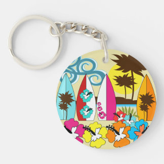 Surf Shop Surfing Ocean Beach Surfboards Palm Tree Double-Sided Round Acrylic Keychain