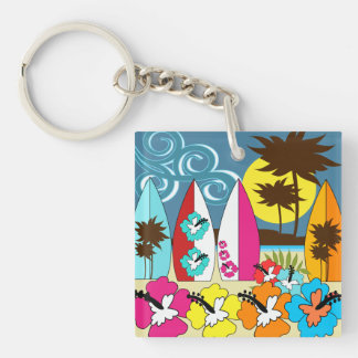 Surf Shop Surfing Ocean Beach Surfboards Palm Tree Double-Sided Square Acrylic Keychain