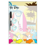 Surf Shop Surfing Ocean Beach Surfboards Palm Tree Dry-Erase Board