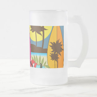 Surf Shop Surfing Ocean Beach Surfboards Palm Tree Frosted Glass Beer Mug