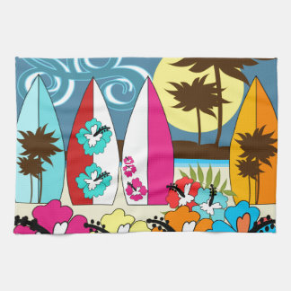 Surf Shop Surfing Ocean Beach Surfboards Palm Tree Kitchen Towel