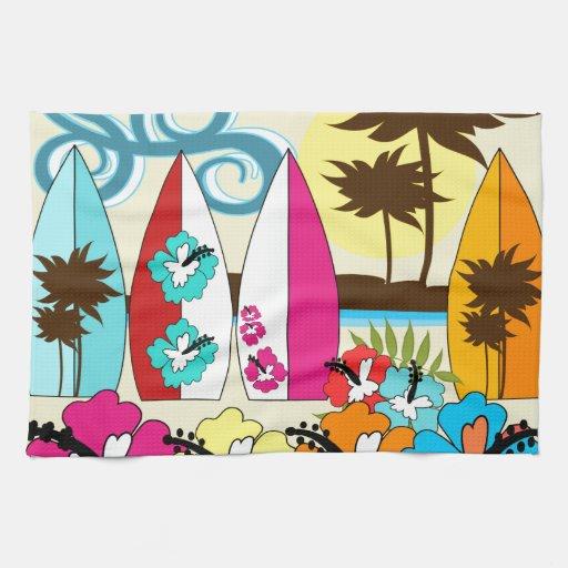 Surf Shop Surfing Ocean Beach Surfboards Palm Tree Towels