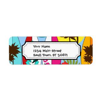 Surf Shop Surfing Ocean Beach Surfboards Palm Tree Label