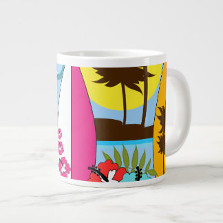 Surf Shop Surfing Ocean Beach Surfboards Palm Tree Large Coffee Mug