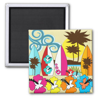 Surf Shop Surfing Ocean Beach Surfboards Palm Tree Refrigerator Magnet