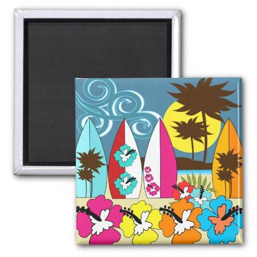 Surf Shop Surfing Ocean Beach Surfboards Palm Tree Fridge Magnets