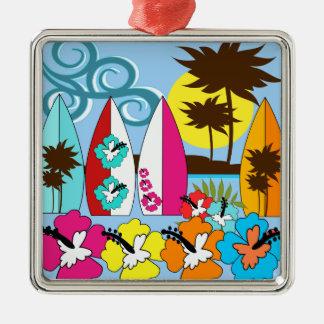Surf Shop Surfing Ocean Beach Surfboards Palm Tree Metal Ornament