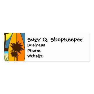 Surf Shop Surfing Ocean Beach Surfboards Palm Tree Mini Business Card