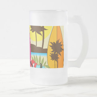 Surf Shop Surfing Ocean Beach Surfboards Palm Tree 16 Oz Frosted Glass Beer Mug