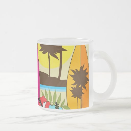 Surf Shop Surfing Ocean Beach Surfboards Palm Tree 10 Oz Frosted Glass Coffee Mug