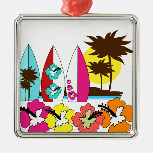 Surf Shop Surfing Ocean Beach Surfboards Palm Tree Square Metal Christmas Ornament