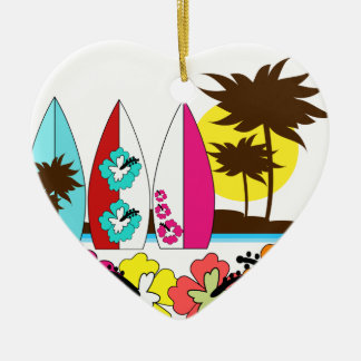 Surf Shop Surfing Ocean Beach Surfboards Palm Tree Christmas Ornaments