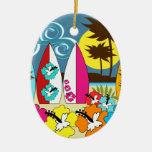 Surf Shop Surfing Ocean Beach Surfboards Palm Tree Christmas Tree Ornament