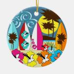 Surf Shop Surfing Ocean Beach Surfboards Palm Tree Ornaments