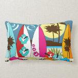 Surf Shop Surfing Ocean Beach Surfboards Palm Tree Pillows