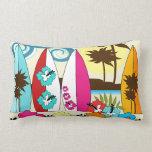 Surf Shop Surfing Ocean Beach Surfboards Palm Tree Throw Pillows