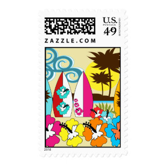 Surf Shop Surfing Ocean Beach Surfboards Palm Tree Postage Stamps