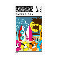 Surf Shop Surfing Ocean Beach Surfboards Palm Tree Postage Stamp