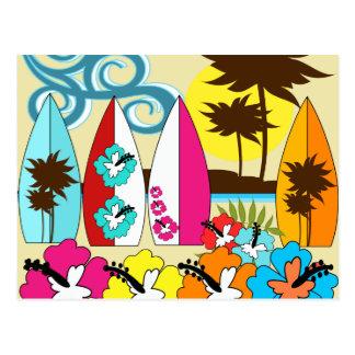 Surf Shop Surfing Ocean Beach Surfboards Palm Tree Postcard