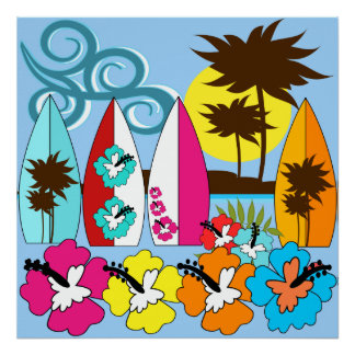 Surf Shop Surfing Ocean Beach Surfboards Palm Tree Posters