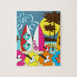 Surf Shop Surfing Ocean Beach Surfboards Palm Tree Puzzles