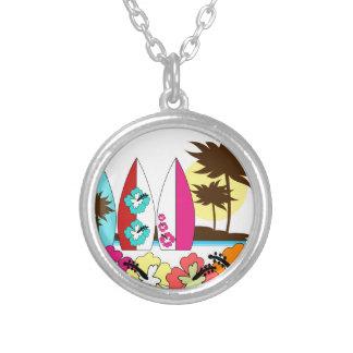 Surf Shop Surfing Ocean Beach Surfboards Palm Tree Round Pendant Necklace