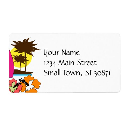 Surf Shop Surfing Ocean Beach Surfboards Palm Tree Shipping Label