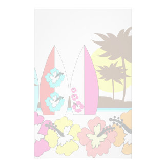 Surf Shop Surfing Ocean Beach Surfboards Palm Tree Stationery Paper