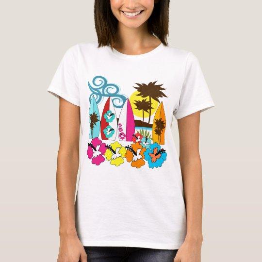 Surf Shop Surfing Ocean Beach Surfboards Palm Tree T-Shirt