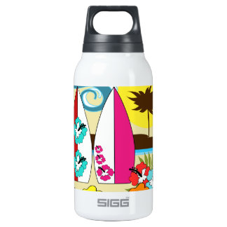 Surf Shop Surfing Ocean Beach Surfboards Palm Tree Thermos Water Bottle