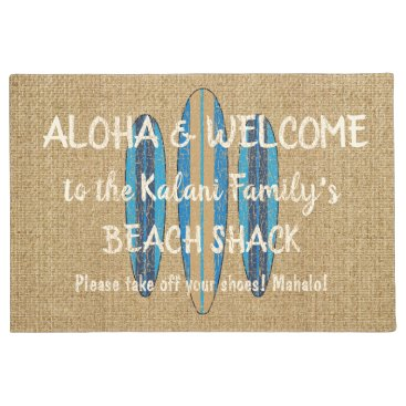 Hawaiian Themed Surf Sign Customize Monogram Hawaiian Aloha Doormat
