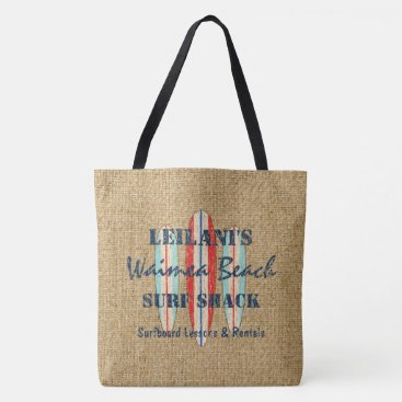Beach Themed Surf Sign Customize Monogram Hawaiian Beach Bag