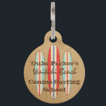 """Surf Sign Customize Monogram Hawaiian Surfboards Pet ID Tag<br><div class=""""desc"""">Our triple surfboard design features three competition striped longboards. It is reminiscent of the beach surf shacks signs whose paint is weathered by storms and the sea air. You can customize it with your own name,  favorite beach and even change the other verbiage. This design comes in several colorways.</div>"""