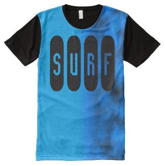 Surf Slogan Neon Cerulean Water Blue Night Sky All-Over-Print Shirt
