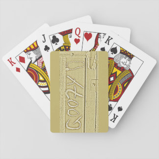Surf surfboard Goofy foot surfing Gold yellow Playing Cards