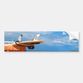 Surf surfboard rack surfing blue white clouds bumper sticker