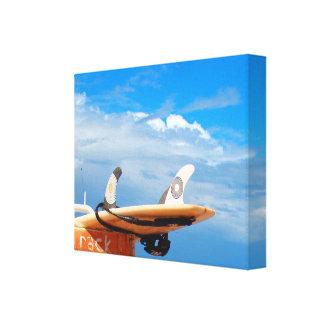 Surf surfboard rack surfing blue white clouds canvas print
